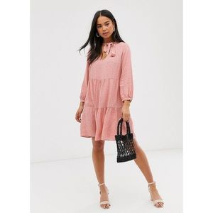 ASOS new look smock dress in pink polka dot mini